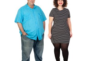 Curvy girl and obese man