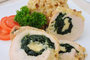 Chicken roulade stuffed