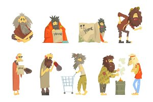 Set of homeless people, characters in dirty torn clothes. Unemployment and homeless issues cartoon vector Illustrations