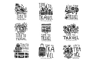 Time to travel set for label design. Black vector Illustrations