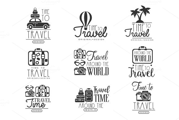 Travel Around The World Set For Label Design