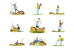 Treasure hunting, people in search of treasure. Cartoon detailed Illustrations