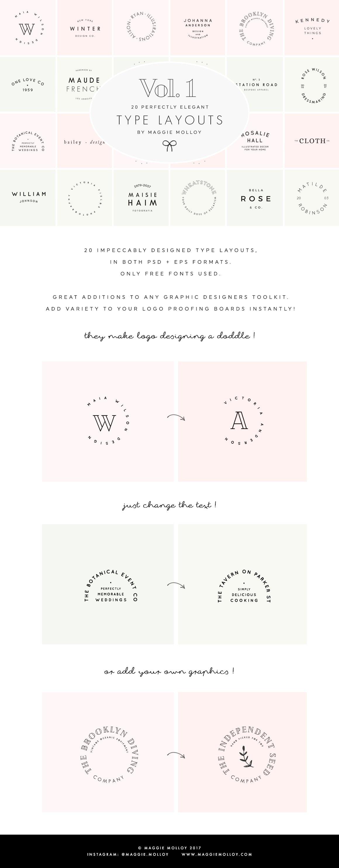 Type Layouts Vol. 1 Text Based Logos ~ Logo Templates