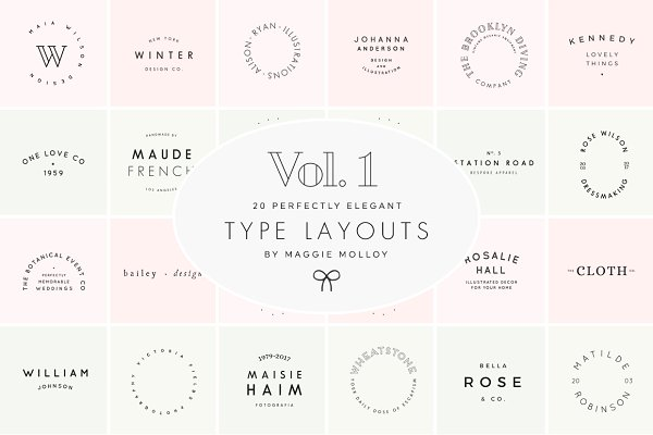 Type Layouts Vol. 1 Text Based Logo…