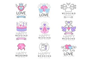 Love and wedding set for logo design, collection of colorful Illustrations