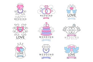 Happy wedding and love set for logo design, collection of colorful Illustrations