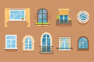 Windows set in different styles and forms. Window frames exterior view