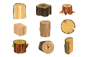 Set of different stump trees. Wooden materials vector Illustrations