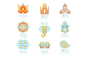 Yoga studio labels set, stylized famous spiritual Indian symbols, colorful vector Illustrations