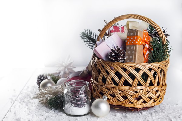 Christmas Gifts on Wooden Backgroun…