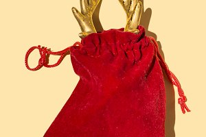 Deer horn in red Santa's bag