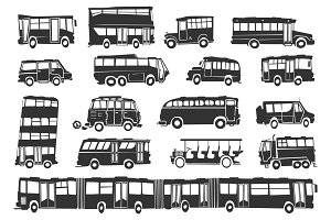bus silhouettes in funny style