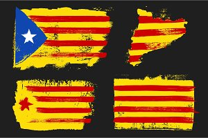 Catalonia Flags Grunge Style