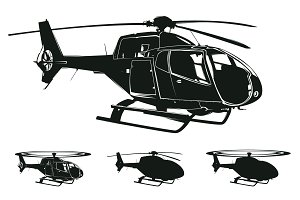 vector helicopter silhouettes