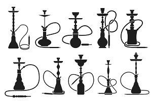 hookahs set silhouettes