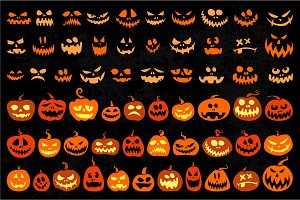 Jack o Lantern and evil faces set