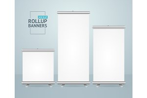 Roll Up Banner Stand Mock Up Set