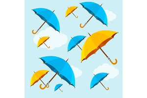 Umbrellas Fall on Blue Sky Backgroun