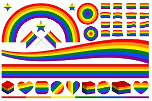 Vector LGBT rainbow symbols set.