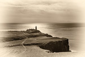 Neist Point lighthouse at Isle of Skye in Scotland