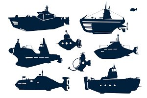 silhouettes of submarines