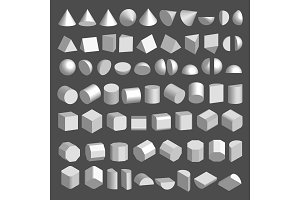 3D shapes set.