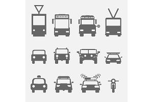 simple transport icons front view.