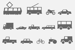 city transport simple monochrome icons side view