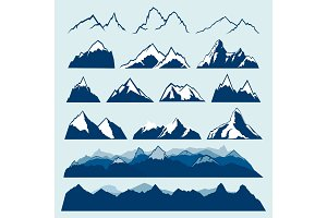 mountains vector set