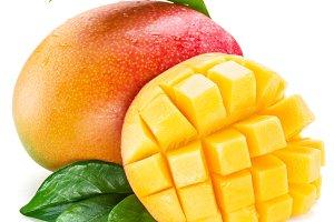 Mango cubes and mango fruit.