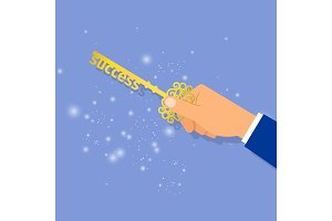 Businessman hand holding key of success
