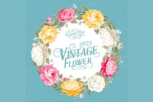 Vintage flower invitation card.