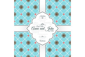 Vintage blue spanish pattern card
