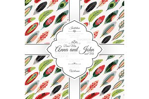 Invitation card with colorful feathers pattern