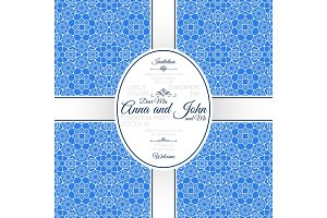 Card with blue geometric arabic pattern