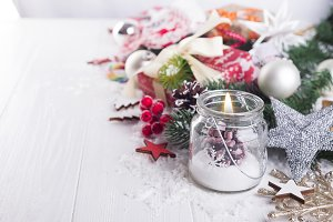 candle and Christmas decoration