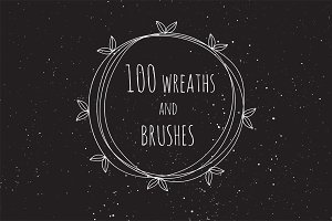 100 vector wreaths and brushes