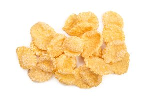 Corn flakes isolated on white background. Top view
