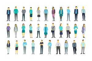 Big set a lot of people bundle in line crowd many persons. Stock vector illustration