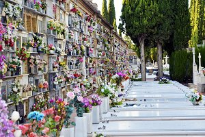 tombs and niches with flowers