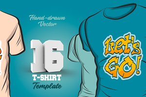 16 Hand-drawn vector tshirt template
