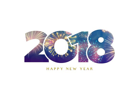2018 happy new year background fireworks numbers textures
