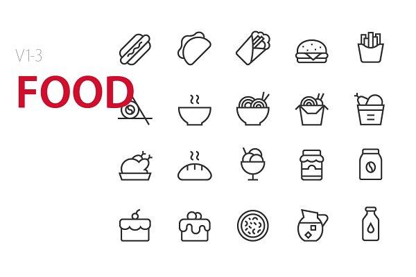 60 Food UI icons