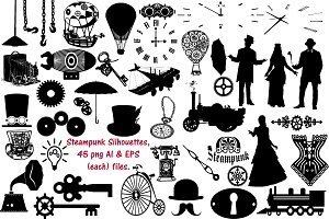 Steampunk Silhouette AI EPS PNG