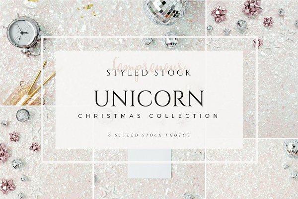 Unicorn Christmas Styled Stock
