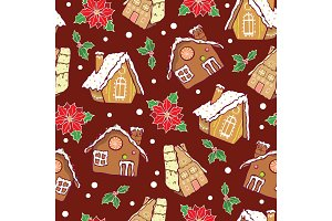 Vector gingerbread houses and poinsettia flowers Christmas seamless pattern background. Perfect for winter holiday fabric, giftwrap, scrapbooking, greeting cards design projects.