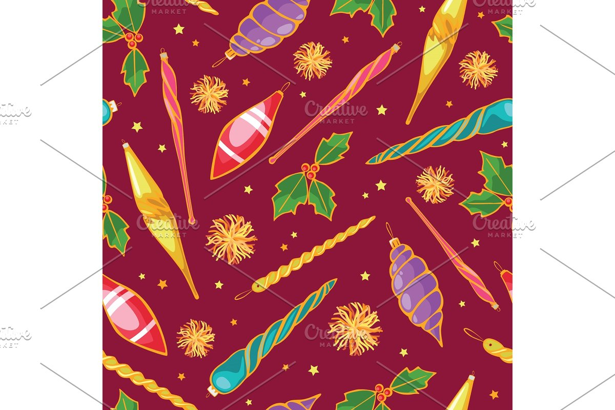 Colorful Christmas Background Design.Vector Colorful Christmas Tree Ornaments Seamless Repeat Pattern Background Perfect For Winter Holiday Fabric Giftwrap Scrapbooking Greeting Cards