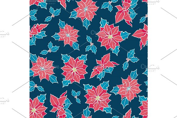 Vector Blue Red Poinsettia Flower And Holly Berry Holiday Seamless Pattern Background Great For Winter Themed Packaging Giftwrap Gifts Projects
