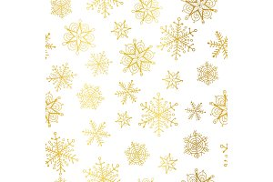 Vector golden and white snowflakes seamless repeat pattern background. Great for winter holiday fabric, giftwrap, packaging, covers, invitations.