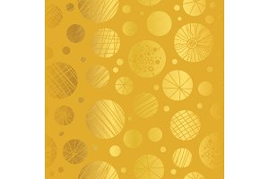 Vector Golden Yellow Decorative Abstract Cricles Seamless Repeat Pattern Background. Great for handmade cards, invitations, wallpaper, packaging, nursery designs.